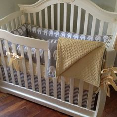 Made to Order Gray and White Elephant Gender Neutral Crib Bedding with Light Yellow Accents
