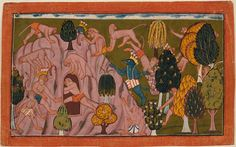 "India, Jammu and Kashmir, Bahu, circa 1700-1710 Monkeys and Bears Investigate the Rikshabila Cave, Folio from the ""Shangri"" Ramayana (Adventures of Rama) 
