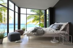Black wall bedroom with sea views in Barcelona.