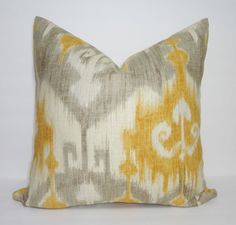 Grey & Gold Ikat Print Linen Pillow Covers Gold Ikat by HomeLiving
