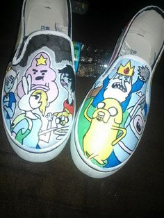 Adventure Time hand painted shoes by LoveInspiredGoods on Etsy, $40.00