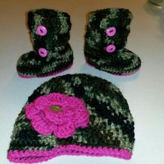 Camo Newsboy Beanie and Boots Pink accents