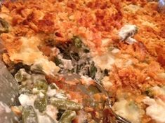 Creamy GREEN BEAN with 2 CHEESE CASSEROLE (mozzarella and Parmesan) * no canned soup or mixes in here ** crunchy, buttery topping * can assemble the day ahead, refrigerate and then bake *