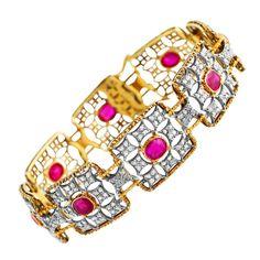 Rare 1930s Buccellati Ruby, Diamond and Gold Bracelet c.1930s | From a unique collection of vintage link bracelets at http://www.1stdibs.com/jewelry/bracelets/link-bracelets/