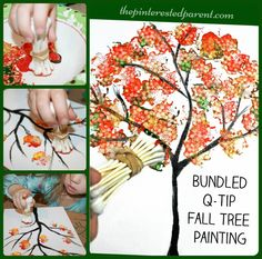 Fall tree painted with bundled q-tips. #fall #craft #kids