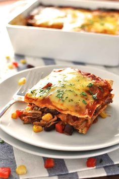 Mexican Lasagna Enchilada Stack - A great throw together dinner! Layers of shredded meat, corn, beans and capsicum (bell peppers) with enchilada sauce and tortillas. by leila Pot Pasta, Pasta Dishes, Tortillas, Mexican Food Recipes, Dinner Recipes, Lasagna Recipes, Mexican Meals, Vegetarian Mexican, Pasta Recipes