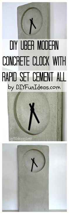 MODERN INDUSTRIAL #DIY #CONCRETE CLOCK TUTORIAL.......Plus tons more fun DIYs at DIYFunIdeas.com