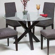 Pastel Effervescence Round Glass Top Dining Table w/ Ballarat Black Base - QLEF51054000 from BEYOND Stores