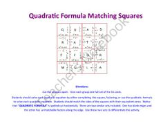 Factoring Quadratic Equations Matching Squares - 16 from jamesrahn on TeachersNotebook.com -  (3 pages)  - This activity can be given to one student, a pair of students, or a group of students to give them additional practice with factoring quadratic equations. The 16 cards can be cut apart and students put the puzzle back together by matching the sides of the