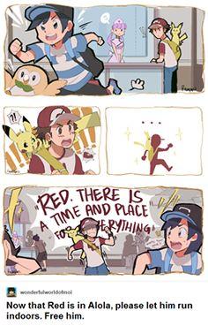 Poor Red, he can't run in Pokemon centers XDDD Pokemon Comics, Pokemon Mew, Pokemon Ships, Pokemon Funny, Pokemon Fan Art, Pikachu, Pokemon Stuff, Pokemon Special, Pokemon Pictures