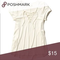 White lace up top Cute going out top tucked into jeans Hollister Tops Tees - Short Sleeve