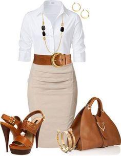 Look dia e noite:Blusa branca,saia bege e acessórios This skirt and blouse are gorgeous! Shoes, yea I'd break my ankles Mode Chic, Mode Style, Workwear Fashion, Work Fashion, Fashion Outfits, Style Fashion, Office Fashion, Fashion Ideas, Fashion Shoes