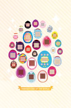 A vector illustration of most of the tamagotchis out there today! Which one is your favorite?  #tamagotchi #illustration #vectorart