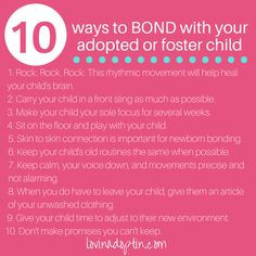 10 ways to bond with your adopted or foster child - lovinadoptin.com #adoption #FosterCare