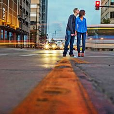 A fabulous downtown Denver engagement session filled with urban textures and the couple's dog!