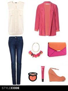 Look en rosa y naranja
