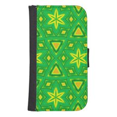 Green and yellow abstract pattern phone wallet