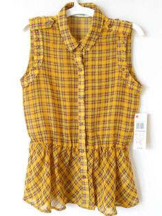 Dream Out Loud By Selena Gomez Yellow Plaid Tunic Blouse Size Junior M New Nwt