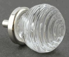 Hoosier Bee Hive Clear Glass Knob w/ Nickel Base 1-1/4""