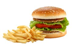 Photo about Hamburger and french fries on white background. Image of fast, cooked, snack - 19941330 Hamburger And Fries, Good Source Of Fiber, Fat Foods, High Cholesterol, French Fries, Saturated Fat, Salmon Burgers, Cravings, Clean Eating