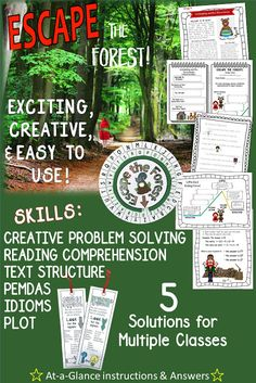 Your kids are on a field trip run by YOU- the most awesome and creative teacher in the history of the world- when they walk a bit too far into the woods and get lost. Now they must work with their group to solve a series of FUN challenges based on comprehension and steeped with a variety of skills!