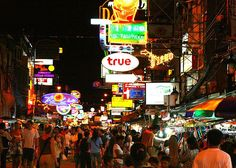 ☀☼ KHAOSAN ROAD ☼☀  Described in the famous Hollywood movie 'The Beach' as the 'backpacking centre of the universe'.  The kilometre long stretch offers a continuous overlap of bars, hostels, travel agents, clubs, restaurants and massage parlours all crying out for backpackers to take advantage of their low prices!  http://ihbangkok.com/study-holiday-thailand/bangkok/