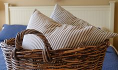 The Wicker Hill Throw Pillow is a perfect addition to your home. The classic ticking pattern makes this an interesting accessory that will add charm to any room. Each pillow is hand-made with a little