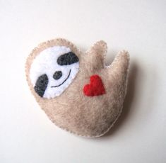 Sloth Felt Brooch Cute Funny Red Heart Love Soft Grey by mikaart, $15.99