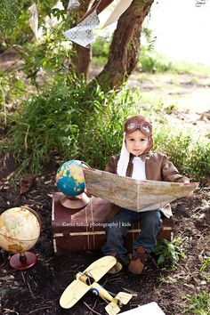 Image of Aviator Pilot Hat w/ Faux Goggles Toddler Childrens Photography Prop