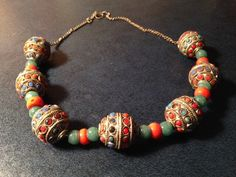 Tibetan silver beads necklace, coral and turquoise beads , Ethnic necklace , Tribal. door NOMADjewels op Etsy https://www.etsy.com/nl/listing/206929312/tibetan-silver-beads-necklace-coral-and