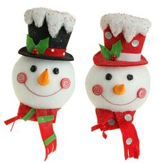 Snowman Head Christmas Decoration with Flat Back by RAZ Imports