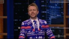 At Midnight it's the last episode for The tie is back but apparently mated with a Christmas themed sweater. Apparently this was another memo I missed. Talking To The Dead, Last Episode, Christmas Themes, Christmas Sweaters, Ties, Suit Jacket, How To Wear, Fashion, Tie Dye Outfits