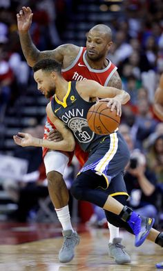 Golden State Warriors guard Stephen Curry (30) drives around Houston Rockets forward PJ Tucker (4) during the second half of an NBA basketball game Saturday, Jan. 20, 2018, in Houston. (AP Photo/Michael Wyke)
