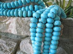 Blue Green Big Hole Bead Turquoise Howlite by jewelrycatsupplies, $5.95