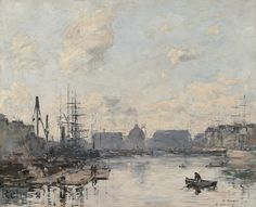 """Eugene Louis Boudin (1824 - 1898) """"Le Havre, le bassin du commerce"""" Oil on panel: 14 5/8 x 18 1/4 inches, Signed and dated '92"""