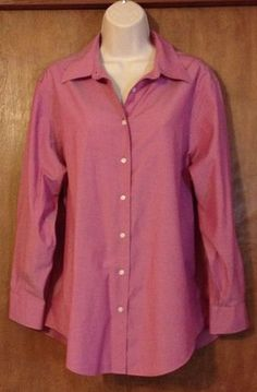 Brooks Brothers Womens Deep Dark Solid Pink Blouse Size 18 Long Sleeve Non Iron