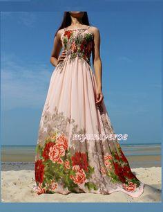 Peach Maxi Dress - Prom Wedding Pink Bridesmaid Dress Sundress Graduation Summer Dress Sexy on Etsy, $55.00