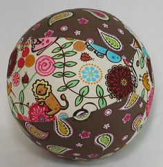 Balloon Ball TOY - This a custom designed fabric balloon cover. Simply insert a deflated balloon into the buttonhole on the end. Blow up the balloon and tie the end. Push the tied end inside the cover and your balloon is now a SAFER, lightweight, bouncy, colorful ball for your baby/toddler/child!! And, it can be washed (cold water, gentle cycle) and reused with your own standard 12 inch balloons!