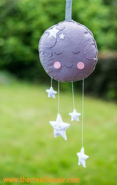 How to sew a felt moon mobile tutorial — The creative pair