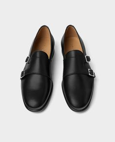 Image 1 of LEATHER DOUBLE MONK STRAP LOAFERS from Zara