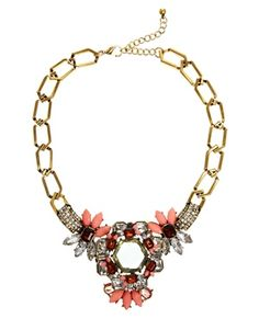 Warehouse Opaque & Crystal Statement Necklace
