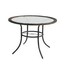 Wonderful Garden Treasures Severson 40 In Glass Top Textured Black Steel Frame Round  Patio