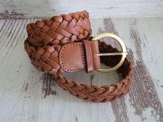 Vintage Braided Leather Belt, accessories by Lindex, Real Leather Brown Belt, Genuine Leather Braided Belt, Vintage Belt for Her