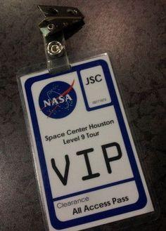 00034e74 NASA VIP tour badge More Fiesta Galactica, Nasa Party, Outer Space Party,  Outer