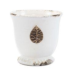 Vietri White Med Leaf Cachepot