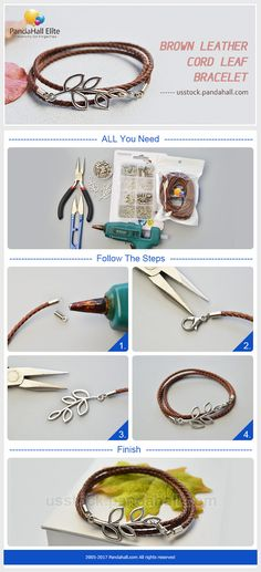 PandaHall Elite Craft Ideas: How to make leather bracelet with PandaHall Elite leather and mixed jewelry findings #pandahallelite #bracelet #leather #cord #craftideas