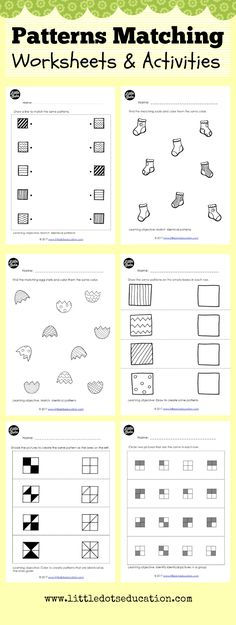 Preschool and Kindergarten patterns matching worksheets and activities to help your kids recognize patterns and relationships. Practice to match identical patterns, draw to create similar patterns as well as identifying identical patterns in a group.
