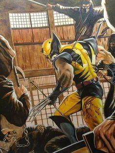 Wilverine vs ninjas, water colour on paper Redraw from felipe massafera Comic Book Characters, Comic Character, Comic Books Art, Comic Art, Book Art, Wolverine Cosplay, Logan Wolverine, Batman Cosplay, Marvel Comics Art