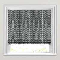 Luxurious Linear Stem Cool Grey Roman Blinds by Orla Kiely. Kitchen Blinds Fabric, Kitchen Blinds Vertical, Patio Blinds, Bathroom Blinds, Diy Blinds, Outdoor Blinds, Bamboo Blinds, Fabric Blinds, Curtains With Blinds