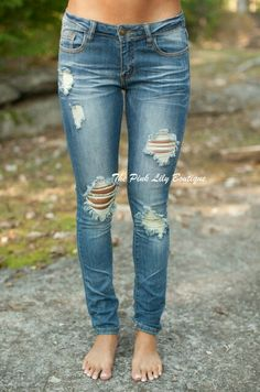 Distressed Medium Wash Machine Skinny Jeans $39.99 ✴USE DISCOUNT CODE: AMIEREP10 TO SAVE AT CHECKOUT✴ www.pinklilyboutique.com
